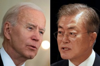 """(COMBO) This combination of file pictures created on April 15, 2021 shows US President Joe Biden (L) speaking in the State Dining Room at The White House in Washington, DC; and South Korea's President Moon Jae-in speaking at a joint press conference in Auckland. - Biden is scheduled to meet with Moon in Washington in May, the White House announced April 15, 2021. """"President Biden looks forward to welcoming President Moon of the Republic of Korea to the White House in the second half of May,"""" Press Secretary Jen Psaki said. (Photos by Brendan Smialowski and Diego OPATOWSKI / AFP)"""