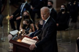 WASHINGTON, DC - APRIL 13: US President Joe Biden speaks during a lying in honor ceremony for U.S Capitol Police officer William Evans, in the U.S. Capitol rotunda on April 13, 2021 in Washington, DC. Officer Evans, who was killed in the line of duty during the attack outside the U.S. Capitol on April 2, will lie in honor in the Capitol rotunda today.   Amr Alfiky-Pool/Getty Images/AFP (Photo by POOL / GETTY IMAGES NORTH AMERICA / Getty Images via AFP)