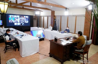 President Rodrigo Roa Duterte presides over a meeting with the Inter-Agency Task Force on the Emerging Infectious Diseases (IATF-EID) core members prior to his talk to the people at the Malacañang Golf (Malago) Clubhouse in Malacañang Park, Manila on April 15, 2021. KING RODRIGUEZ/ PRESIDENTIAL PHOTO