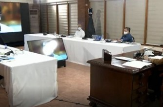 President Rodrigo Duterte asks Food and Drug Administration (FDA) chief about the drug Ivermectin as a possible treatment against COVID-19, during the last part of his Talk To the Nation on Thursday night, April 15, 2021 (Screenshot of PCOO video)