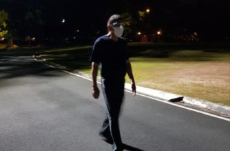 President Rodrigo Duterte is seen here taking a short walk inside Malacanang grounds on Friday night, April 9, 2021 (Photo courtesy Sen. Bong Go/Sen. Bong Go's Facebook page)