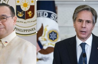 Combo file photos of Philippine Foreign Affairs Secretary Teodoro Locsin Jr., and US Secretary of State Antony Blinken (Photo of  US Secretary of State Antony Blinken from AFP)