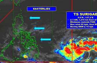 PAGASA: Tropical storm off Mindanao may further intensify, enter PAR as typhoon on Friday