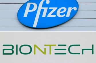 """(COMBO) This combination of file photos created on April 30, 2021 shows the logo of US multinational pharmaceutical company Pfizer (top) at the production site of the Covid-19 vaccine in Puurs, Belgium, on December 22, 2020, and a logo of BioNTech (bottom) at the headquarters of the biopharmaceutical company in Mainz, western Germany. - Pfizer/BioNTech said on April 30, 2021 they have asked European regulators to authorise their Covid-19 vaccine for 12- to 15-year-olds, a move seen as a crucial step toward achieving herd immunity. The companies already filed a similar request with US authorities earlier this month. Their vaccine is currently only approved for use in people aged 16 and over. In a joint statement, Pfizer and BioNTech said they had submitted a request with the Amsterdam-based European Medicines Agency (EMA) to expand the use of their jab to include """"adolescents 12 to 15 years of age"""". (Photos by JOHN THYS and Yann Schreiber / AFP)"""