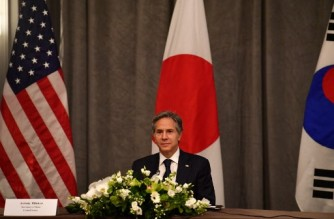 US Secretary of State Antony Blinken takes part in a trilateral meeting with Japan and South Korea on the sidelines of the G7 foreign ministers meeting in London on May 5, 2021. - G7 foreign ministers meet in London for their first face-to-face talks in more than two years, with calls for urgent joined-up action to tackle the most pressing global threats. (Photo by Ben STANSALL / POOL / AFP)