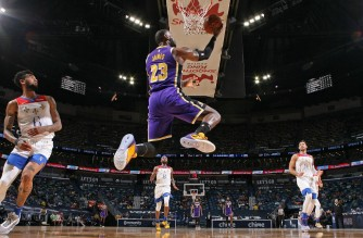 NEW ORLEANS, LA - MAY 16: LeBron James #23 of the Los Angeles Lakers drives to the basket against the New Orleans Pelicans on May 16, 2021 at the Smoothie King Center in New Orleans, Louisiana. NOTE TO USER: User expressly acknowledges and agrees that, by downloading and or using this Photograph, user is consenting to the terms and conditions of the Getty Images License Agreement. Mandatory Copyright Notice: Copyright 2021 NBAE   Layne Murdoch Jr./NBAE via Getty Images/AFP (Photo by Layne Murdoch Jr. / NBAE / Getty Images / Getty Images via AFP)