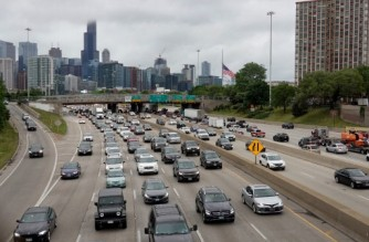 CHICAGO, ILLINOIS - MAY 28: Motorists head out for the holiday weekend on May 28, 2021 in Chicago, Illinois. AAA Travel predicts 37 million Americans will travel 50 miles or more from home during the holiday weekend with 34 million by car.   Scott Olson/Getty Images/AFP (Photo by SCOTT OLSON / GETTY IMAGES NORTH AMERICA / Getty Images via AFP)