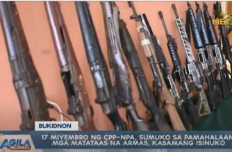 17 NPA rebels surrender in Bukidnon, turn over firearms to govt; given P60K each in livelihood aid