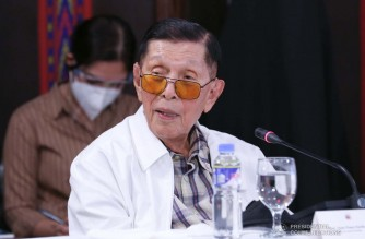Former Senate President Juan Ponce Enrile shares his narrative with President Rodrigo Roa Duterte regarding the disputed waters in the West Philippine Sea prior to the President's talk to the people at the Malacañang Golf (Malago) Clubhouse in Malacañang Park, Manila on May 17, 2021. ALBERTO ALCAIN/ PRESIDENTIAL PHOTO