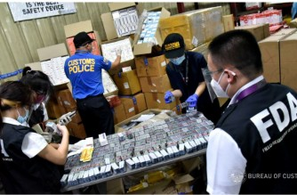 "The Bureau of Customs Port of NAIA (BOC NAIA) intercepted undeclared IVERMECTIN and other undeclared regulated drugs from a shipment imported by Finstad Inc. from New Delhi, India declared as ""Food Supplements, Multivitamins and Multi-Mineral Capsules"", the BOC said on Thursday, May 6, 2021. (Courtesy Bureau of Customs)"