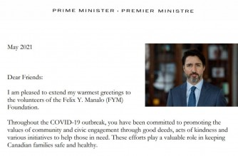 A portion of the letter of Canada's Prime Minister Justin Trudeau sent to the Felix Y. Manalo Foundation of the Iglesia Ni Cristo (INC) or Church Of Christ thanking the Church volunteers for the various Aid to Humanity activities in Canada