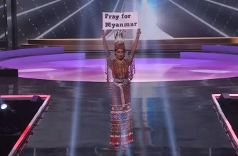Screenshot of Miss Universe Youtube during the national costume portion of the pageant. (Courtesy Miss Universe YouTube)