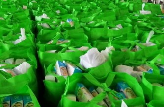 Some of the goodwill bags given to the elderly that were distributed by the Iglesia Ni Cristo (Church Of Christ) on Tuesday, May 25, 2021 (Eagle News Service)