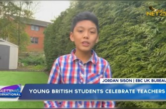 Young British students celebrate teachers