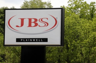 (FILES) In this file photo taken on June 2, 2021 the JBS meat plant is viewed in Plainwell, Michigan. - The CEO of Brazilian meat processor JBS said the company paid $11 million in bitcoin to ransomware extortionists to prevent any further disruption, an article in the Wall Street Journal reported on June 9, 2021. (Photo by JEFF KOWALSKY / AFP)