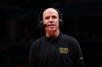 WASHINGTON, DC - MAY 20: Head Coach Nate Bjorkgren of the Indiana Pacers is interviewed during the game against the Washington Wizards during the 2021 NBA Play-In Tournament on May 20, 2021 at Capital One Arena in Washington, DC. NOTE TO USER: User expressly acknowledges and agrees that, by downloading and or using this Photograph, user is consenting to the terms and conditions of the Getty Images License Agreement. Mandatory Copyright Notice: Copyright 2021 NBAE   Stephen Gosling/NBAE via Getty Images/AFP (Photo by Stephen Gosling / NBAE / Getty Images / Getty Images via AFP)