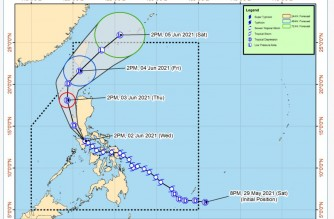 """The track of storm """"Dante"""" showing the six landfalls it made in the country from Tuesday, June 1, to Wednesday, June 2, 2021 (Courtesy PAGASA-DOST)"""