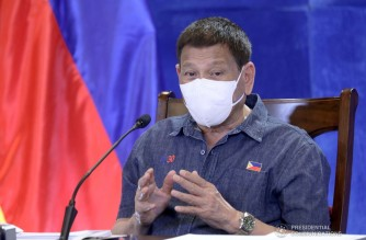 President Rodrigo Roa Duterte talks to the people after holding a meeting with the Inter-Agency Task Force on the Emerging Infectious Diseases (IATF-EID) core members at the Arcadia Active Lifestyle Center in Matina, Davao City on June 21, 2021. SIMEON CELI/ PRESIDENTIAL PHOTO