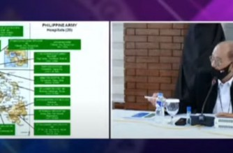 Screenshot of slide presented by Defense Secretary Delfin Lorenzana on the Philippine Army hospitals which will be used in the COVID vaccination rollout.  The slide presentation was done on June 28 during the Talk to the People of President Rodrigo Duterte.  (Courtesy PCOO)