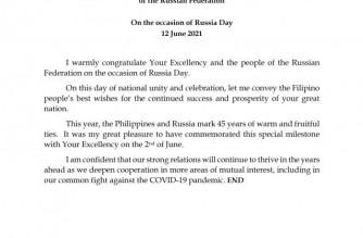 President Duterte greets Putin on Russia Day