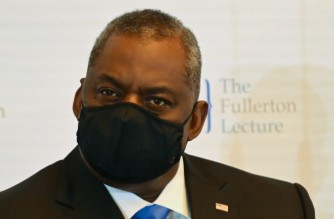 US Secretary of Defense Lloyd Austin attends the 40th International Institute for Strategic Studies (IISS) Fullerton lecture in Singapore on July 27, 2021. (Photo by Roslan Rahman / AFP)