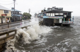 CEDAR KEY, FL - JULY 07: Tropical Storm Elsa makes landfall on July 7, 2021 in Cedar Key, Florida. Storm warnings remain in effect for parts of Florida's west coast as Elsa made landfall on Wednesday morning. After hitting Cuba on Monday, causing flooding and mudslides, Elsa is expected to bring strong winds and rain as it heads north in the coming days.   Mark Wallheiser/Getty Images/AFP (Photo by MARK WALLHEISER / GETTY IMAGES NORTH AMERICA / Getty Images via AFP)