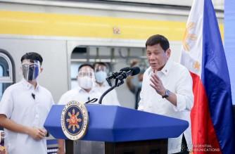 President Rodrigo Roa Duterte delivers his speech during the inauguration of the newly built Light Rail Transit Line 2 East Extension Project in Antipolo City, Rizal on July 1, 2021. ACE MORANDANTE/ PRESIDENTIAL PHOTO