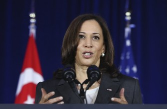 US Vice President Kamala Harris delivers a speech at Gardens by the Bay in Singapore before departing for Vietnam on the second leg of her Asia trip, August, 24, 2021. (Photo by EVELYN HOCKSTEIN / POOL / AFP)