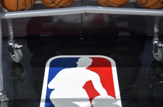 SAN ANTONIO, TX - MARCH 4: The NBA logo before the game between Oklahoma City Thunder and San Antonio Spurs on March 4, 2021 at the AT&T Center in San Antonio, Texas. NOTE TO USER: User expressly acknowledges and agrees that, by downloading and or using this photograph, user is consenting to the terms and conditions of the Getty Images License Agreement. Mandatory Copyright Notice: Copyright 2021 NBAE   Logan Riely/NBAE via Getty Images/AFP (Photo by Logan Riely / NBAE / Getty Images / Getty Images via AFP)