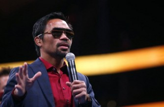 LAS VEGAS, NEVADA - AUGUST 21: Manny Pacquiao responds to a question during a post-fight news conference after to his loss to Yordenis Ugas in a WBA welterweight title fight at T-Mobile Arena on August 21, 2021 in Las Vegas, Nevada. Ugas retained his title by unanimous decision.   Steve Marcus/Getty Images/AFP (Photo by Steve Marcus / GETTY IMAGES NORTH AMERICA / Getty Images via AFP)