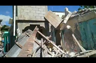 Screenshot of video taken by EVENEL FERET / ESN showing the scenes from the hard-hit city of Jeremie after a powerful 7.2-magnitude earthquake struck Haiti on Aug. 14, 2021 (Courtesy EVENEL FERET / ESN)