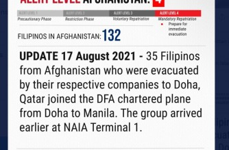 A tweet from the Department of Foreign Affairs (DFA) reporting the arrival of the 35 Filipinos evacuated from Afghanistan. (Courtesy DFA)