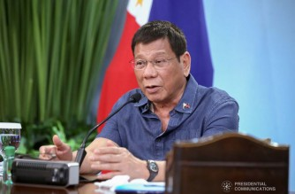 President Rodrigo Roa Duterte talks to the people after holding a meeting with the Inter-Agency Task Force on the Emerging Infectious Diseases (IATF-EID) core members at the Malacañang Golf (Malago) Clubhouse in Malacañang Park, Manila on August 9, 2021. ROBINSON NIÑAL/ PRESIDENTIAL PHOTO