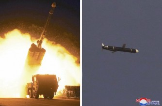 """This undated combo picture released from North Korea's official Korean Central News Agency (KCNA) on September 13, 2021 shows a test-fired new type long-range cruise missile on September 11 and 12, conducted by the Academy of Defence Science of the DPRK. (Photo by STR / KCNA VIA KNS / AFP) / - South Korea OUT / ---EDITORS NOTE--- RESTRICTED TO EDITORIAL USE - MANDATORY CREDIT """"AFP PHOTO/KCNA VIA KNS"""" - NO MARKETING NO ADVERTISING CAMPAIGNS - DISTRIBUTED AS A SERVICE TO CLIENTS THIS PICTURE WAS MADE AVAILABLE BY A THIRD PARTY. AFP CAN NOT INDEPENDENTLY VERIFY THE AUTHENTICITY, LOCATION, DATE AND CONTENT OF THIS IMAGE. /"""