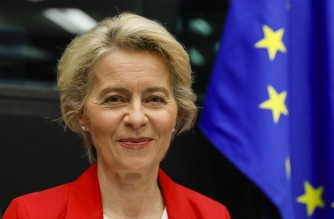 European Commission President Ursula von der Leyen poses prior to the start of the Meeting of the College of Commissioners at the European Parliament in Strasbourg, France, on September 14 2021. - European Commission President Ursula von der Leyen will deliver the 2021 State of the Union on September 15. (Photo by JULIEN WARNAND / POOL / AFP)