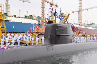 """(FILES) This file handout photo taken on August 13, 2021 and provided by South Korea's Defence Ministry on September 7, 2021 shows the locally-developed, diesel-powered 3,000-tonne submarine, named after revered independence activist Ahn Chang-ho, during its commissioning ceremony on the southern island of Geoje. - South Korea successfully test-fired a submarine-launched ballistic missile on September 15, 2021, the presidential Blue House said, becoming only the seventh country in the world with the advanced technology. (Photo by Handout / South Korean Defence Ministry / AFP) / ---- EDITORS NOTE ----- RESTRICTED TO EDITORIAL USE - MANDATORY CREDIT """"AFP PHOTO / South Korean Defence Ministry"""" - NO MARKETING NO ADVERTISING CAMPAIGNS - DISTRIBUTED AS A SERVICE TO CLIENTS"""