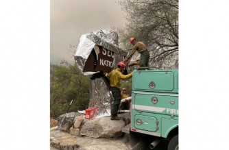 """In this picture released by the National Park Service on September 16, 2021, firefighters wrap the historic Sequoia National Park entrance sign with fire-proof blankets in Sequoia National Park, California. - The world's biggest trees were being wrapped in fire-proof blankets Thursday in an effort to protect them from huge blazes tearing through the drought-stricken western United States. A grove of ancient sequoias, including the 275-foot (83-meter) General Sherman Tree -- the largest in the world -- were getting aluminum cladding to fend off the flames. Firefighters were also clearing brush and pre-positioning engines among the 2,000 ancient trees in California's Sequoia National Park, incident commanders said. (Photo by Handout / NATIONAL PARK SERVICE / AFP) / RESTRICTED TO EDITORIAL USE - MANDATORY CREDIT """"AFP PHOTO / NATIONAL PARK SERVICE/ HO"""" - NO MARKETING NO ADVERTISING CAMPAIGNS - DISTRIBUTED AS A SERVICE TO CLIENTS"""