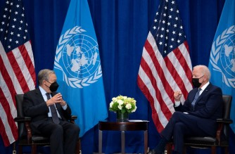 US President Joe Biden (R) and United Nations Secretary General Antonio Guterres (L) hold a bilateral meeting on the sidelines of the UN General Assembly 76th session General Debate at the United Nations Headquarters, in New York, September 20, 2021. (Photo by Brendan Smialowski / AFP)