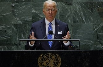US President Joe Biden addresses the 76th Session of the UN General Assembly on September 21, 2021 in New York. (Photo by EDUARDO MUNOZ / POOL / AFP)