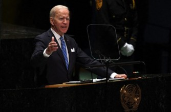 NEW YORK, NEW YORK - SEPTEMBER 21: U.S. President Joe Biden addresses the 76th Session of the U.N. General Assembly on September 21, 2021 at U.N. headquarters in New York City. More than 100 heads of state or government are attending the session in person, although the size of delegations is smaller due to the Covid-19 pandemic.   Timothy A. Clary-Pool/Getty Images/AFP (Photo by POOL / GETTY IMAGES NORTH AMERICA / Getty Images via AFP)