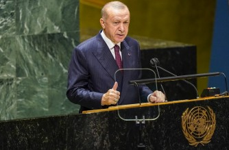 NEW YORK, NEW YORK - SEPTEMBER 21: Turkish President Recep Tayyip Erdo?an speaks during the annual gathering in New York City for the 76th session of the United Nations General Assembly (UNGA) on September 21, 2021 in New York City. More than 100 heads of state or government are attending the session in person, although the size of delegations are smaller due to the Covid-19 pandemic.   Mary Altaffer - Pool/Getty Images/AFP (Photo by POOL / GETTY IMAGES NORTH AMERICA / Getty Images via AFP)