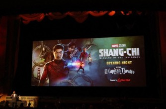 """LOS ANGELES, CALIFORNIA - SEPTEMBER 02: The theatre screen is shown at a special screening Marvel Studio's """"Shang-Chi and The Legend of The Ten Rings"""" at El Capitan Theatre on September 02, 2021 in Los Angeles, California.   Kevin Winter/Getty Images/AFP (Photo by KEVIN WINTER / GETTY IMAGES NORTH AMERICA / Getty Images via AFP)"""