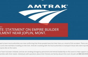 Statement of Amtrak on the trail derailment accident near Joplin, Montana in the United States where three people died and more injured on Sept. 26, 2021 (Courtesy Amtrak)