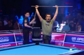 Filipino billiard player Carlo Biado erupts in jubilation after his winning shot at the 2021 US Open Pool Championship on Sunday, Sept. 19, 2021 (Manila time) in New Jersey.  (Screenshot of Matchroom Pool Youtube/Courtesy Matchroom Pool)