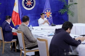 President Rodrigo Roa Duterte presides over a meeting with the Inter-Agency Task Force on the Emerging Infectious Diseases (IATF-EID) core members prior to his talk to the people at the Arcadia Active Lifestyle Center in Matina, Davao City on September 22, 2021. ARMAN BAYLON/ PRESIDENTIAL PHOTO