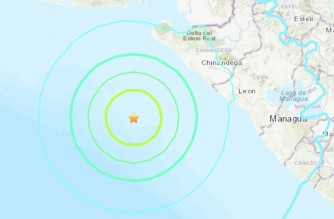 Screenshot of USGS website showing the location of the 6.5 magnitude quake that struck Nicaragua. (Courtesy USGS)