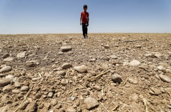 (FILES) In this file photo taken on June 24, 2021, a boy walks through a dried up agricultural field in the Saadiya area, north of Diyala in eastern Iraq. - The climate crisis threatens a double blow for the Middle East, experts say, by destroying its oil income as the world shifts to renewables and raising temperatures to unlivable extremes. (Photo by AHMAD AL-RUBAYE / AFP)