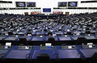 Members of European Parliament (MEP) take part in a debate during a plenary session at the European Parliament in Strasbourg, eastern France on October 20, 2021, on preparations for the European Council meeting of October 21-22, 2021. (Photo by FREDERICK FLORIN / POOL / AFP)
