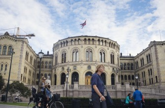 The Norwegian Parliament is pictured in Downton Oslo, Norway on August 21, 2017. - The Norwegian parliamentary election is set for 11 September 2017. (Photo by KYRRE LIEN / AFP)