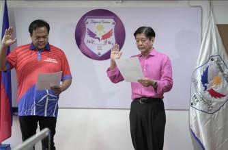 "Former senator Ferdinand ""Bongbong"" Marcos Jr., takes his oath as chairman and standard bearer of the Partido Federal ng Pilipinas (PFP) (Photo courtesy Facebook page of former senator Bongbong Marcos)"